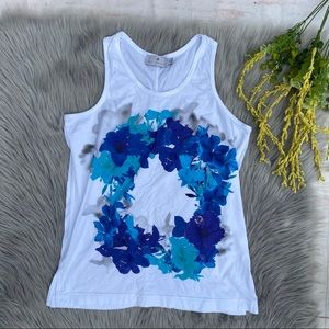 Stella McCartney for Adidas White Blue Floral Tank